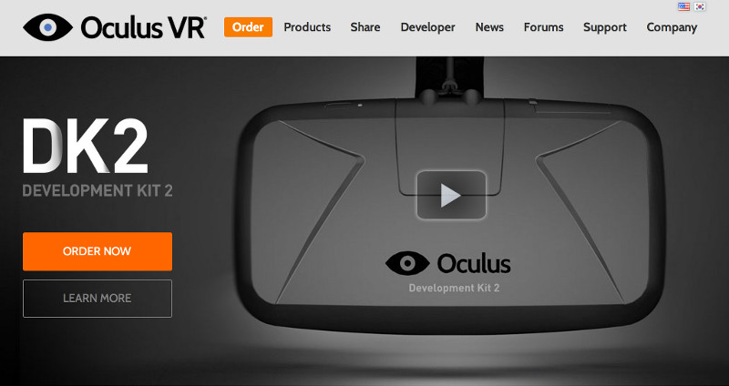 The Oculus homepage featuring the Rift DK2. Shiny.